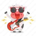 animal, cow, emoji, emoticon, music, rockstar, sticker icon