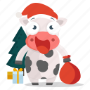 animal, cow, emoji, emoticon, santa, sticker icon