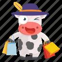 animal, cow, emoji, emoticon, shopping, sticker icon