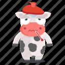 animal, cow, emoji, emoticon, sick, sticker, unwell icon