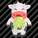 animal, cow, emoji, emoticon, sick, sticker, vomit icon