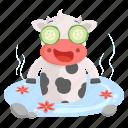 animal, cow, emoji, emoticon, spa, sticker, wellness icon