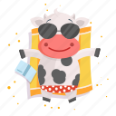 animal, cow, emoji, emoticon, sticker, sunbathing
