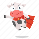 animal, cow, emoji, emoticon, hero, sticker, super