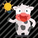 animal, cow, emoji, emoticon, idea, sticker, thought icon