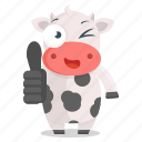 animal, cow, emoji, emoticon, sticker, thumbs, up icon
