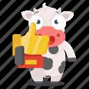 animal, award, cow, emoji, emoticon, sticker, trophy icon