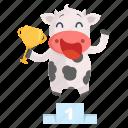 animal, cow, emoji, emoticon, sticker, trophy, winner icon