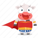 animal, cow, emoji, emoticon, sticker, woman, wonder icon