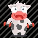 animal, cow, emoji, emoticon, sticker, workout icon