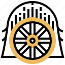 cartwheel, gear, timber, vintage, wagon icon