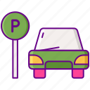 car, park, sign, vehicle icon