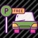 car, free, parking, sign