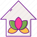 home, meditation, relaxation, room icon
