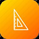 degree, half, measure, scale, stationary, tool, triangle icon