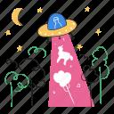 alien, spaceship, tree, moon, night, ship, aliens, travel