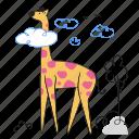giraffe, animal, wildlife, nature, cloud, tree, birds