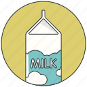 beverage carton, drink, food, milk, milk bottle, milk pack icon
