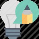 bulb, creative, creativity, idea, lamp, pencil, writing icon