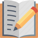 book, edit, education, learning, pencil, text, writing icon