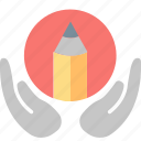 blogging, creating, hands, learning, pencil, skill, writing icon