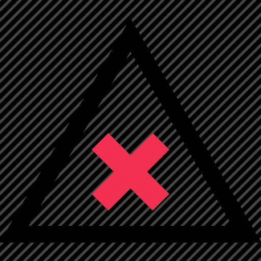 cross, stop, triangle icon