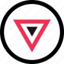 down, download, point, triangle icon