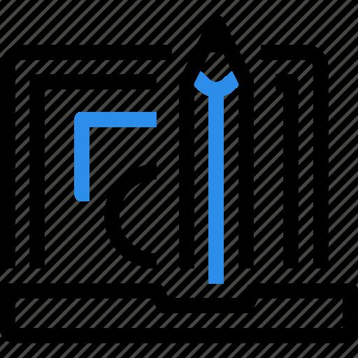 computer, creative, digital, education, graphic, pencil, ruler icon