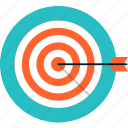 achievement, arrow, bullseye, competition, goal, growth, marketing, solution, success, target icon
