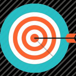 achievement, arrow, bullseye, competition, goal, growth, marketing, solution, success, target icon