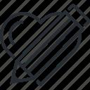 comment, favorite, heart, portfolio, review, testimonial, thin line icon