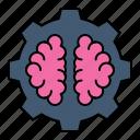 brain, creative, gear, process icon
