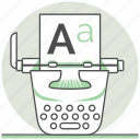 concept, creative, design, process, typewriter, typography icon