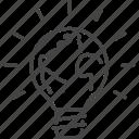 earth, globe, world, flag, light, bulb