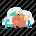 crowdfunding, businesspeople, add, money, piggy, bank, man