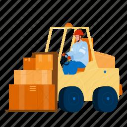 forklift, worker, driving, truck, warehouse, driver, transportation