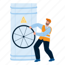 gas, industry, worker, turning, pipe, valve, industrial