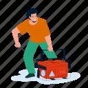 generator, equipment, starting, young, man, emergency, machine