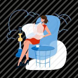 hookah, woman, relaxing, smoking, cafe, young, girl