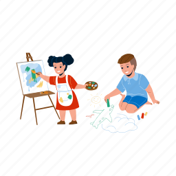 kids, drawing, creative, picture, together, boy, draw