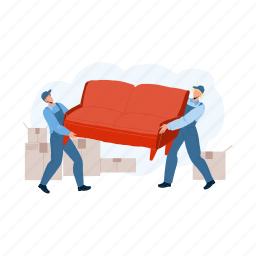move, new, house, movers, carry, sofa, transportation