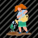 sapling, planting, watering, girl, child, tree, care