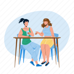 talking, girls, sitting, table, together, young, women