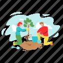 volunteering, man, woman, planting, tree, characters, boy