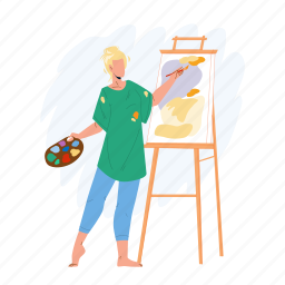artist, woman, painting, picture, canvas, young, girl