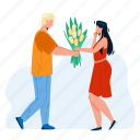 couple, flower, boy, presenting, flowers, girl, love