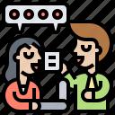 brainstorming, communication, consult, conversation, discussion
