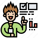advisor, facilitator, instructor, mentor, presentation icon