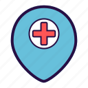 emergency, health care, hospital, location, marker, pin, pointer icon