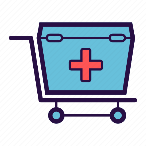 first aid box, health care, medical, medical box, medical cart, medication icon